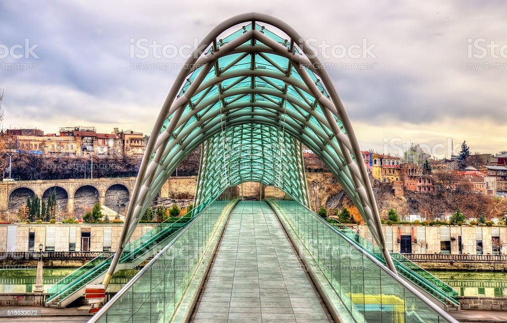 Bridge of Peace in Tbilisi, Georgia stock photo