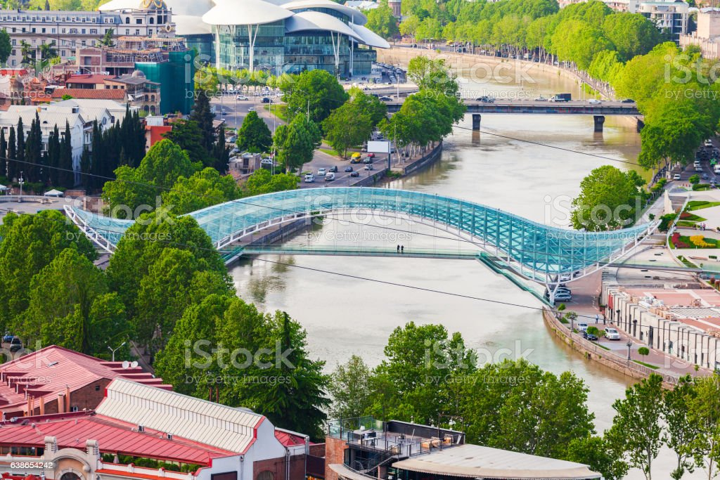 Bridge of Peace in Tbilisi stock photo