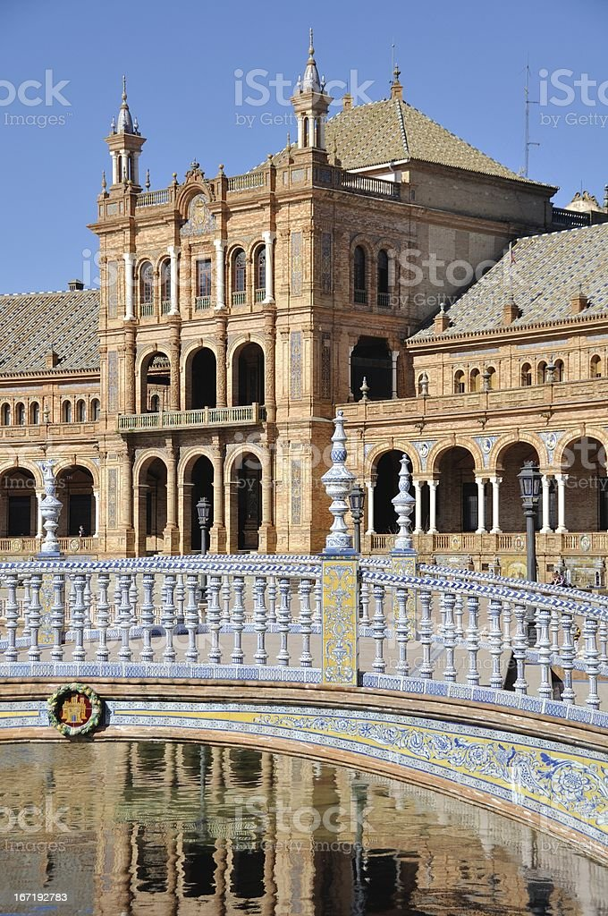 Bridge of Plaza de Espana in Seville, Spain royalty-free stock photo