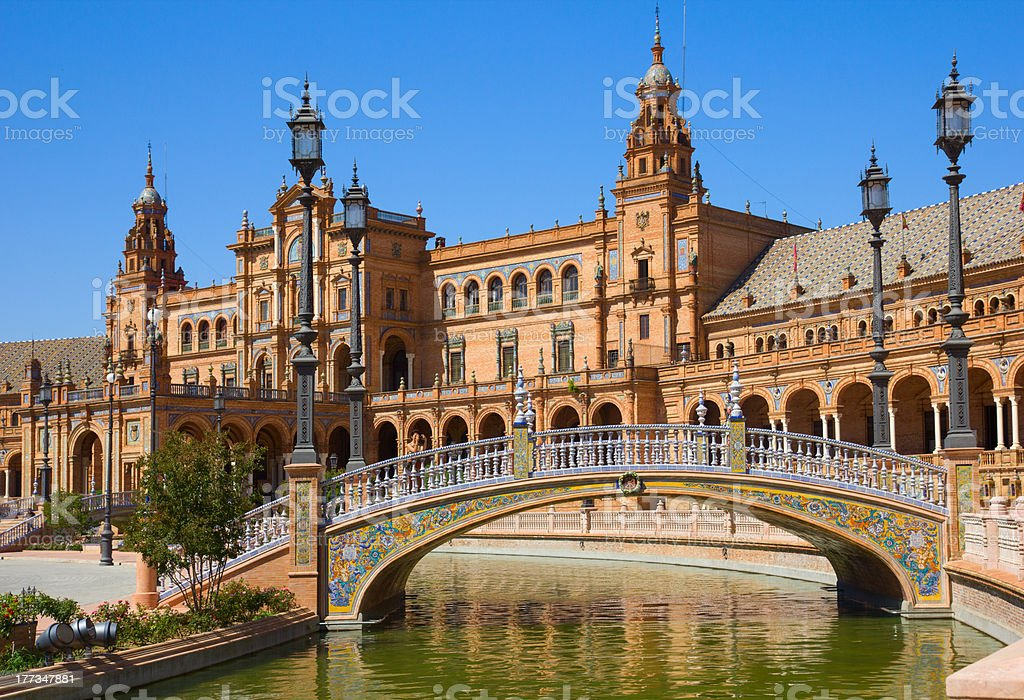 bridge of  Plaza de Espana, Seville, Spain stock photo