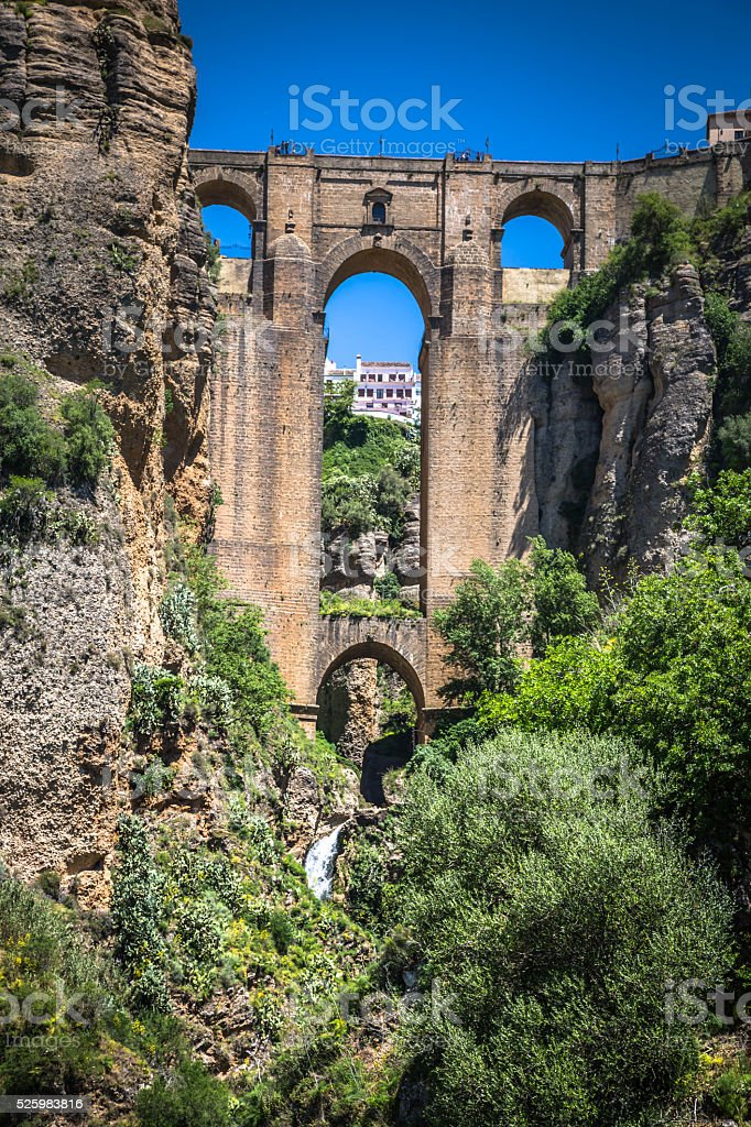 Bridge of Ronda, one of the most famous white villages stock photo
