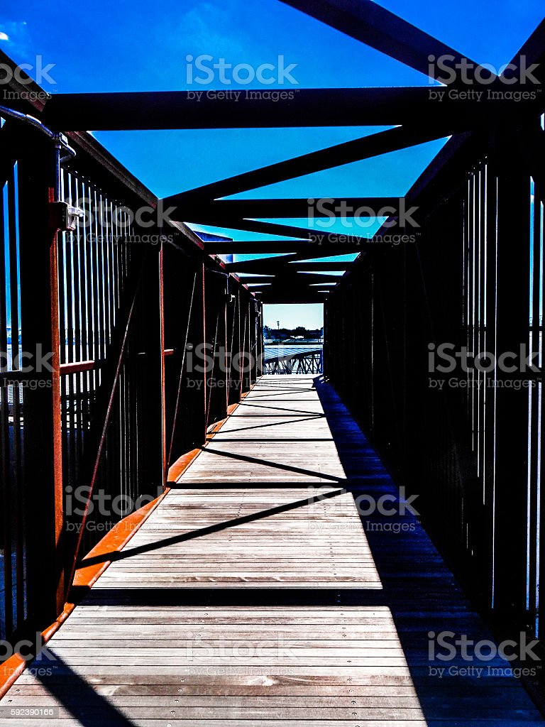 Bridge of rusted steel stock photo