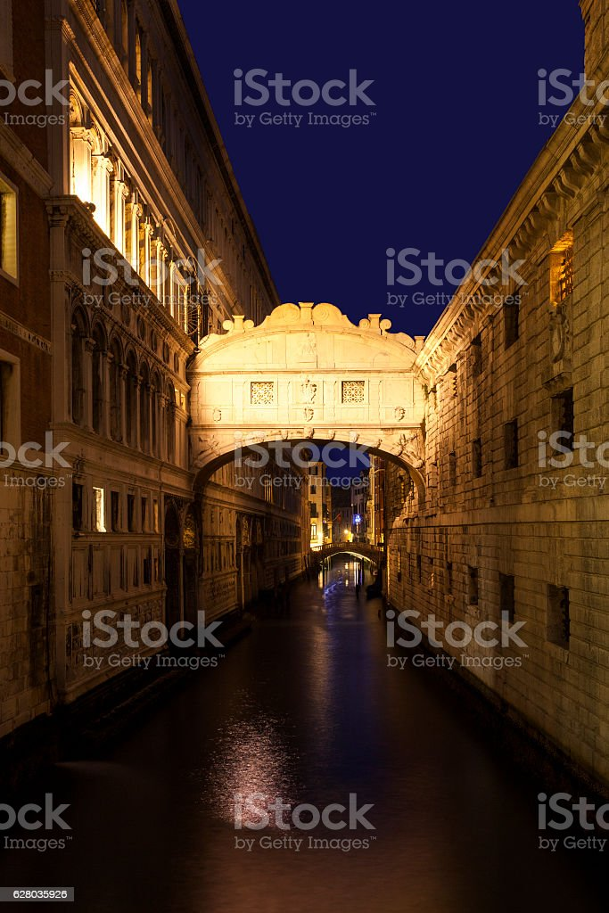 Bridge of Sighs at Twilight stock photo