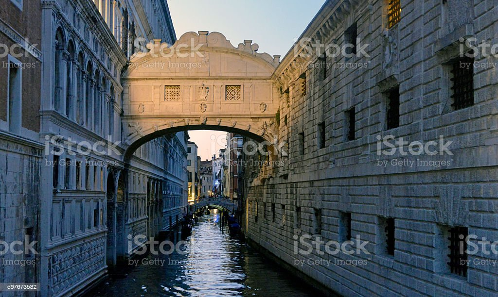 Bridge of sighs detail illuminated. Venice Italy stock photo