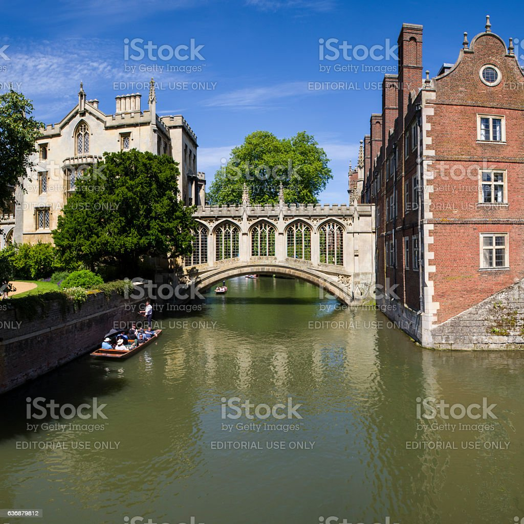Bridge of Sighs in Cambridge stock photo