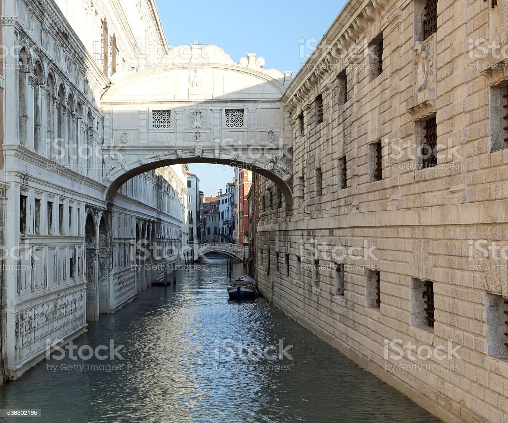 bridge of sighs in Venice doge's palace and prison stock photo