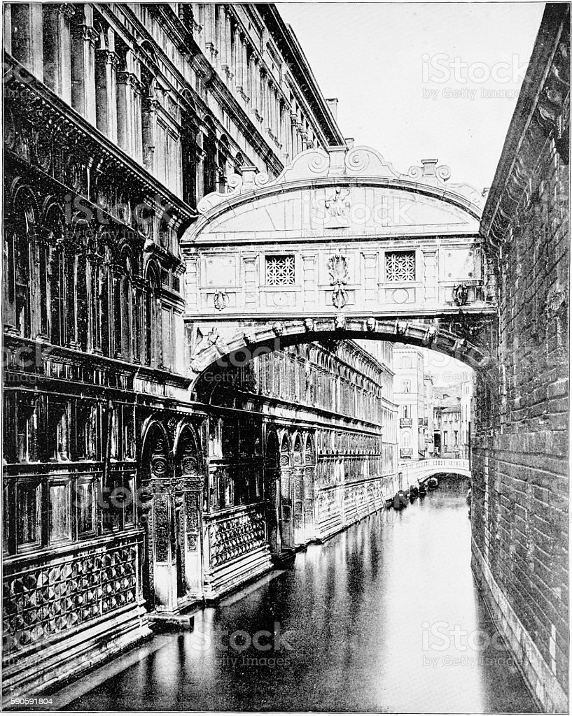 Bridge of Sighs in Venice, Italy in 1880s stock photo