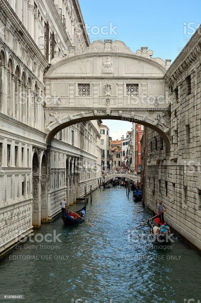 Bridge of Sighs in Venice - Italy. stock photo