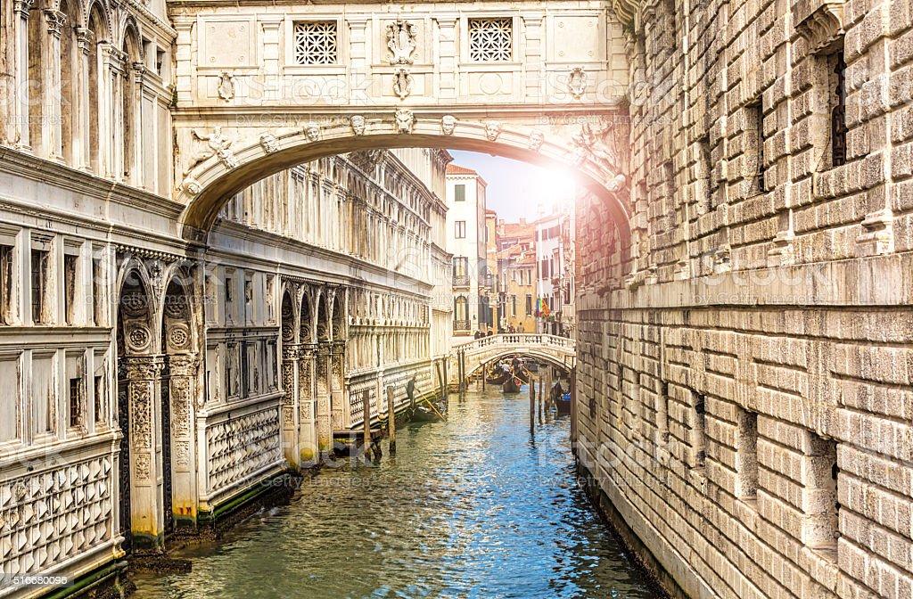 Bridge of Sighs in Venice stock photo