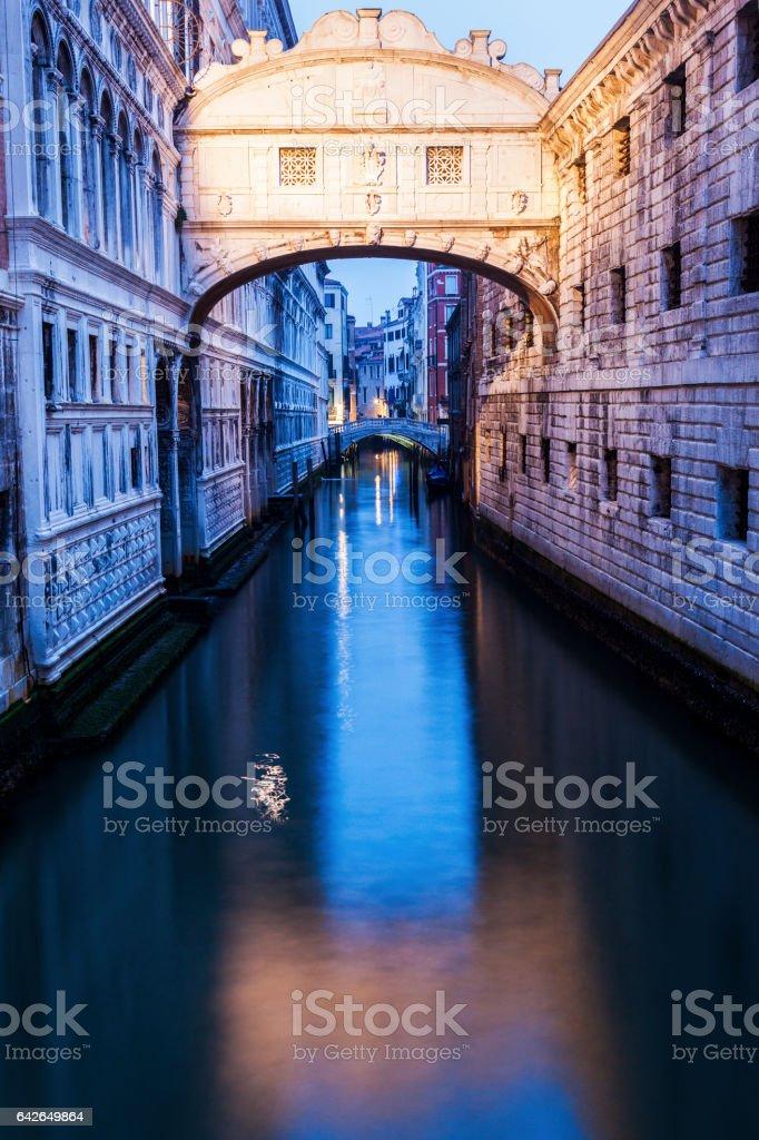 Bridge of Sighs in Venice seen at dawn stock photo