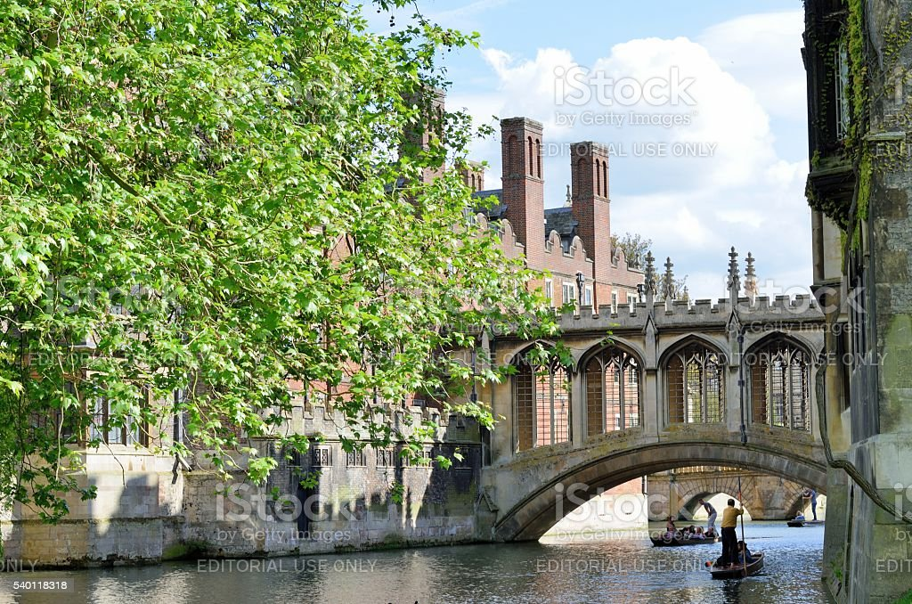 Bridge of Sighs over river Cam Cambridge England with punter stock photo