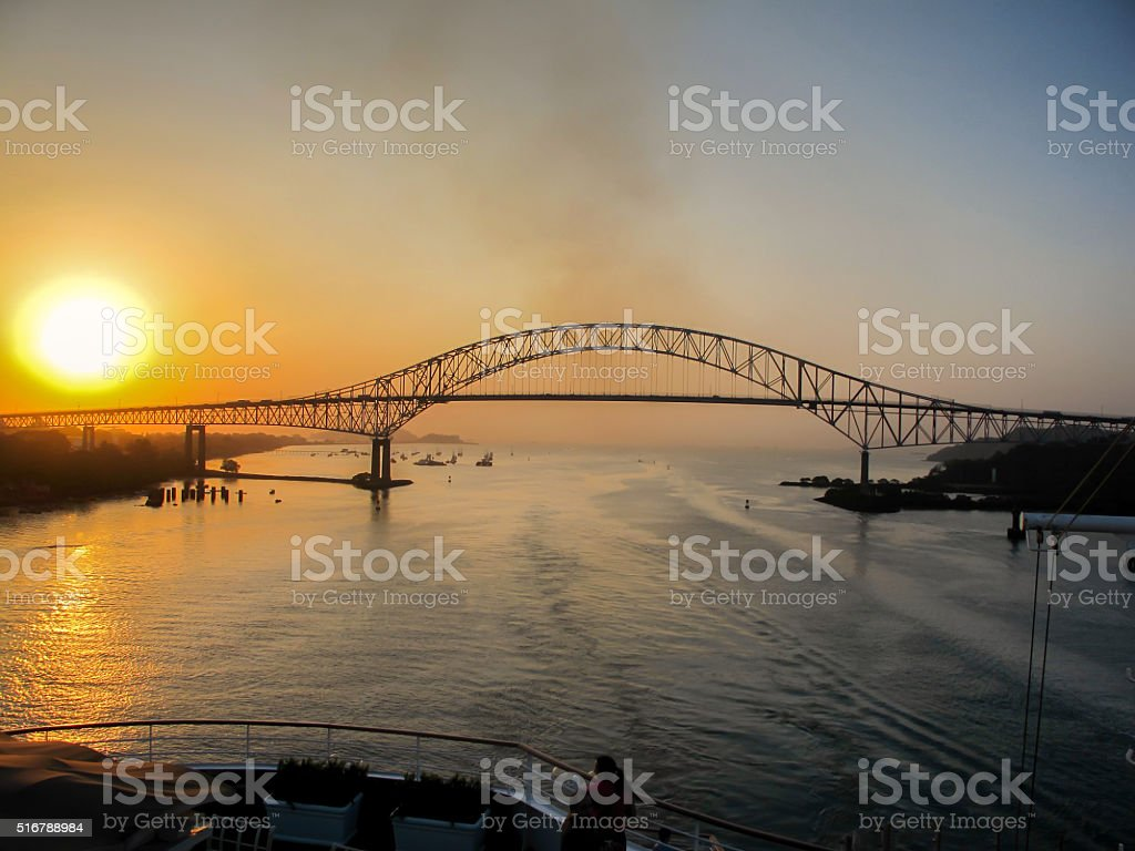 Bridge of the Americas, Panama City at Dawn stock photo