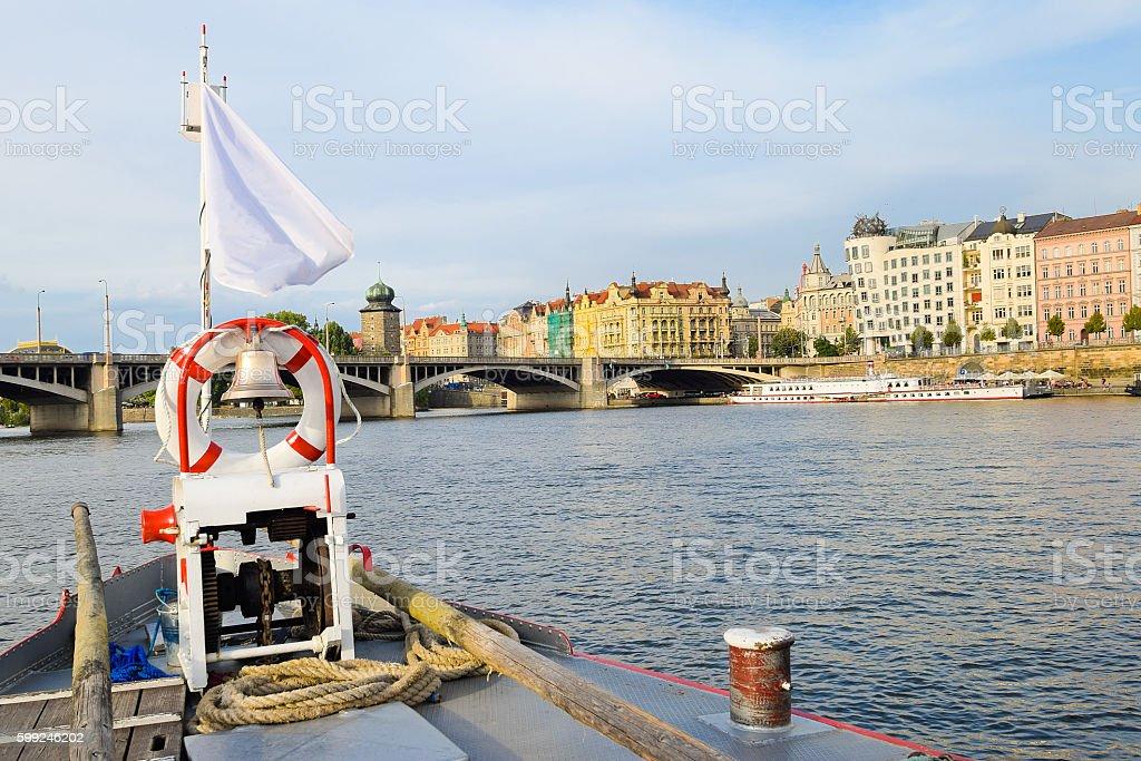 Bridge of the boat on the Vltava river in Prague stock photo