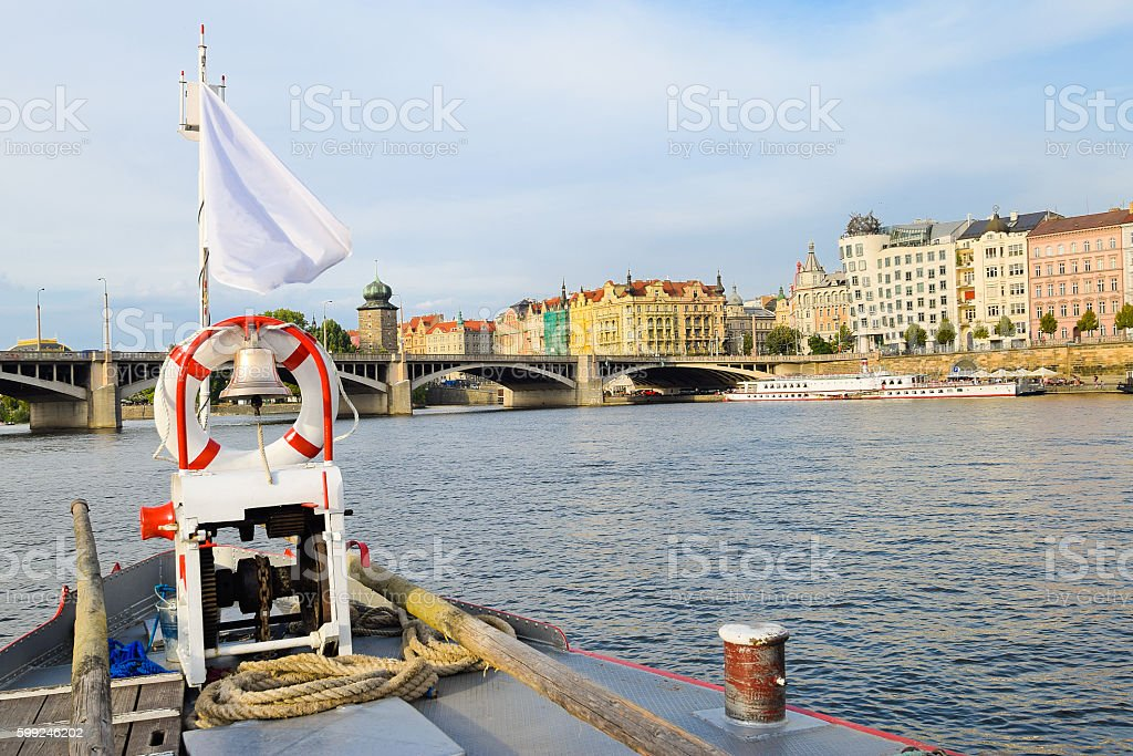 Bridge of the boat on the Vltava river in Prague stock photo