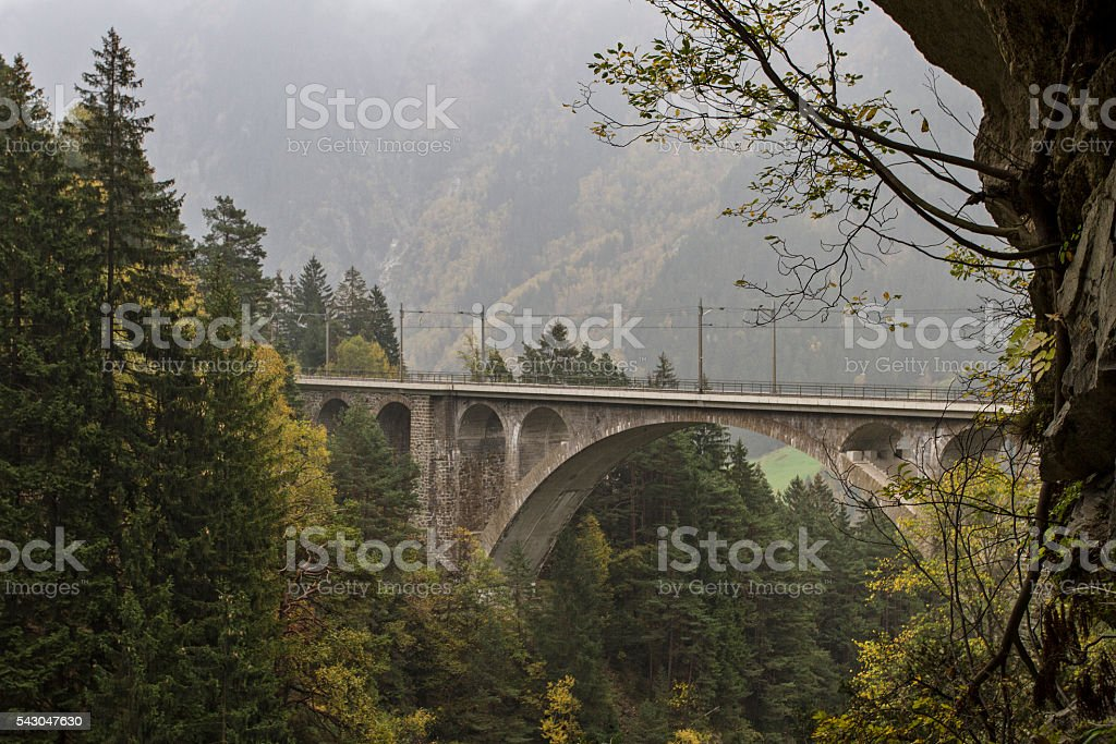 bridge of the Gotthard train stock photo