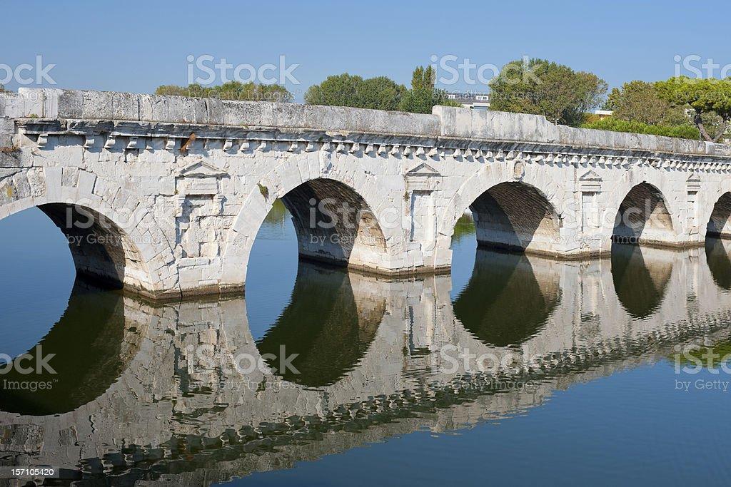 Bridge of Tiberius in Rimini stock photo