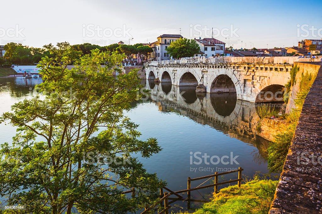 Bridge of Tiberius (Ponte di Tiberio) in Rimini stock photo