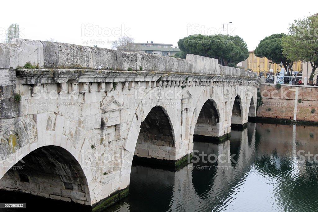 Bridge of Tiberius is a Roman  in Rimini, Italy. stock photo