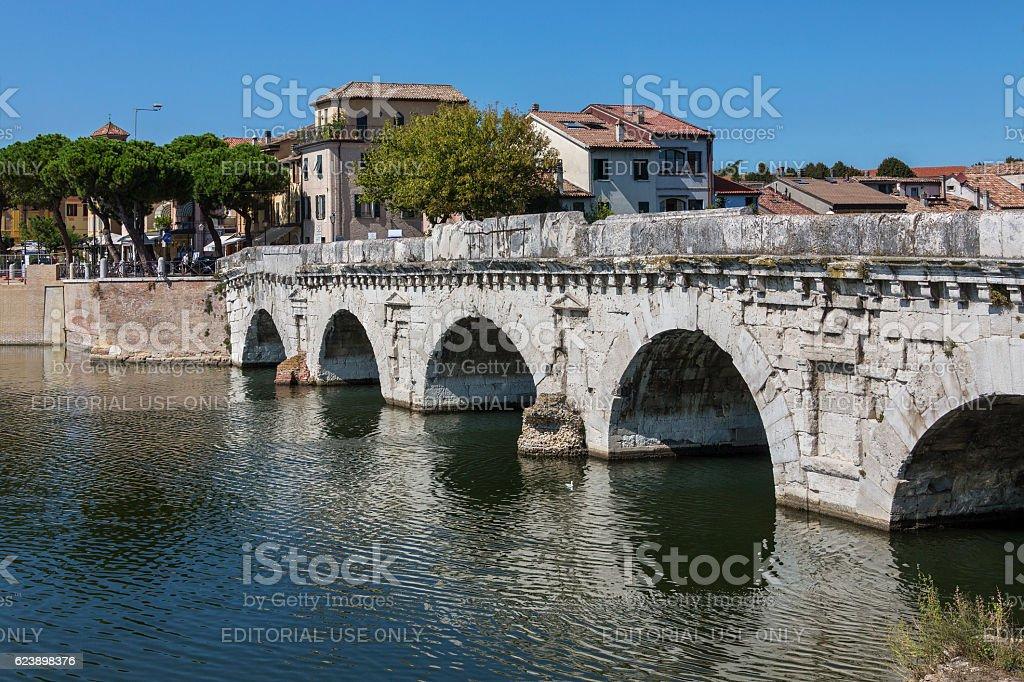 Bridge of Tiberius - Rimini - Italy stock photo