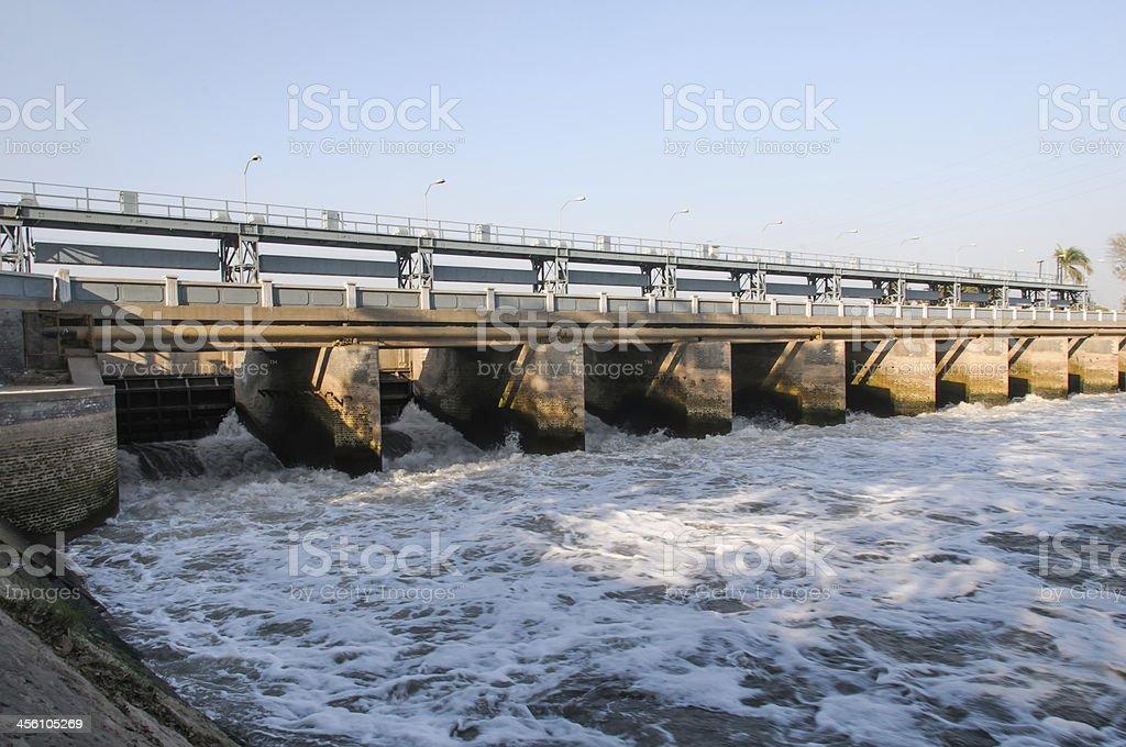 bridge on a dam stock photo