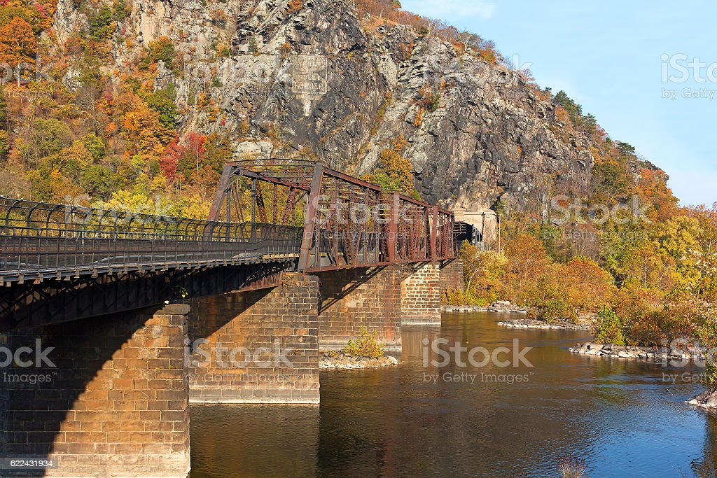 Bridge on Appalachian Trail where Potomac and Shenandoah Rivers meet. stock photo
