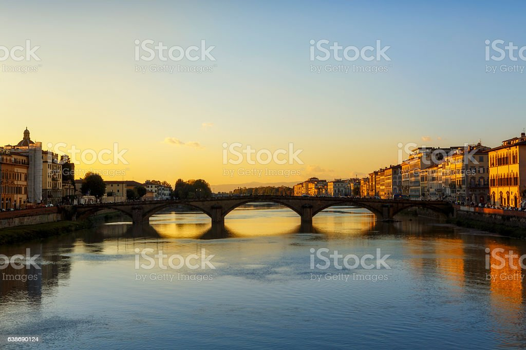 Bridge on Arno River in Florence, Italy stock photo