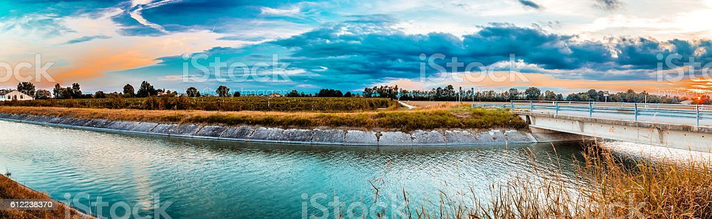 Bridge on channel for irrigation stock photo