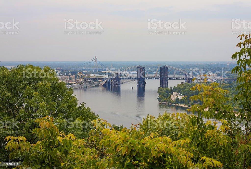 Bridge on Dnieper River in Kiev, Ukraine stock photo