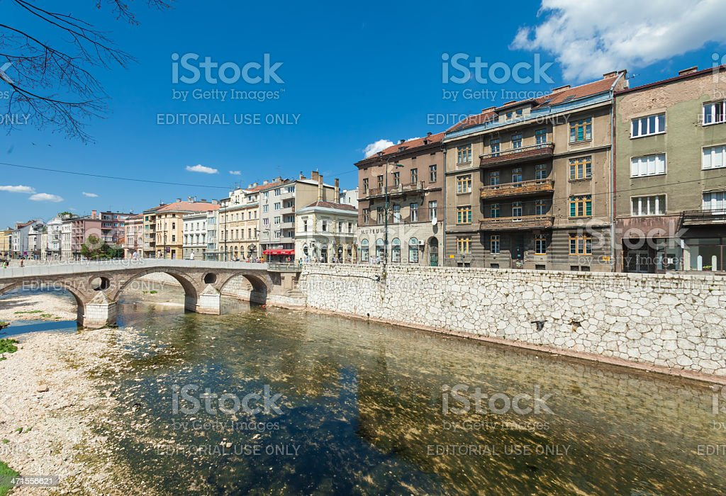 Bridge on Miljacka river in Sarajevo, Bosnia and Herzegovina stock photo