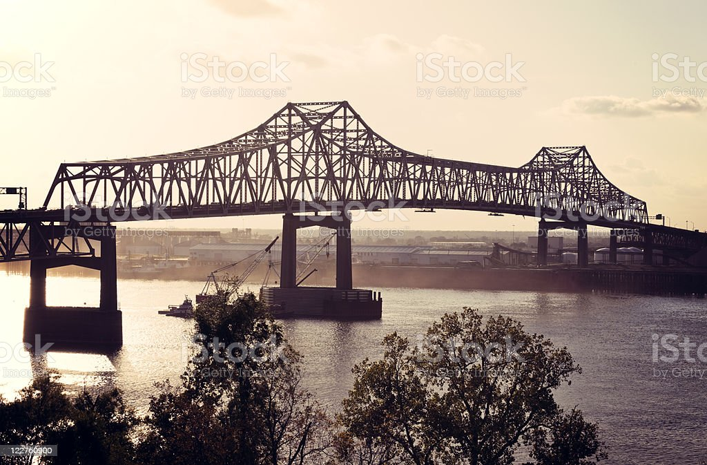 Bridge on Mississippi River in Baton Rouge stock photo