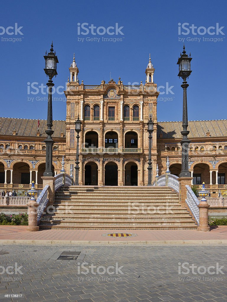 Bridge on Plaza de Espana in Seville, Spain royalty-free stock photo