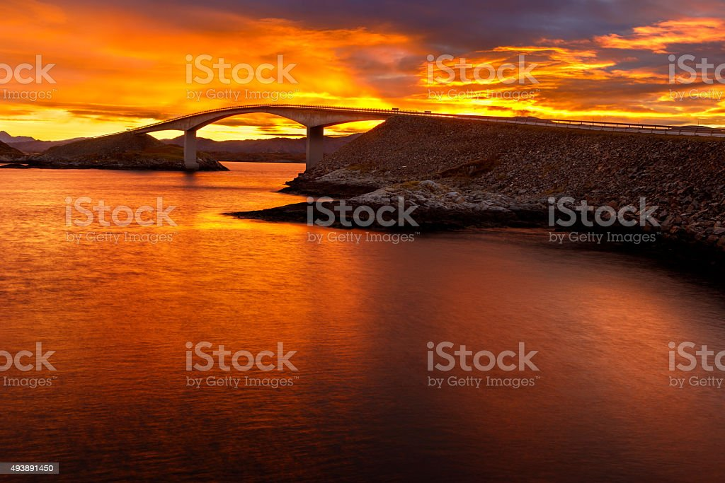 Bridge on the Atlantic Road in Norway stock photo