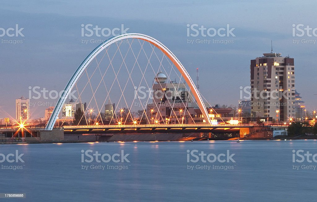 Bridge on the river Ishim. Astana. Kazakhstan stock photo