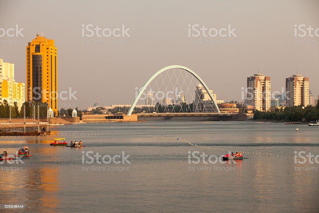 Bridge on the river Ishim. Astana stock photo