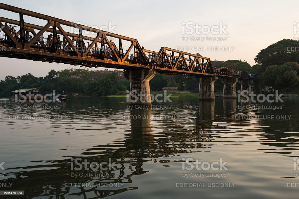 Bridge on the River Khwae, Kanchanaburi, Thailand stock photo