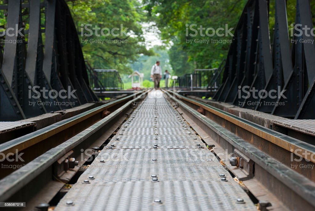 Bridge on the River Kwai in Kanchanaburi, Thailand stock photo