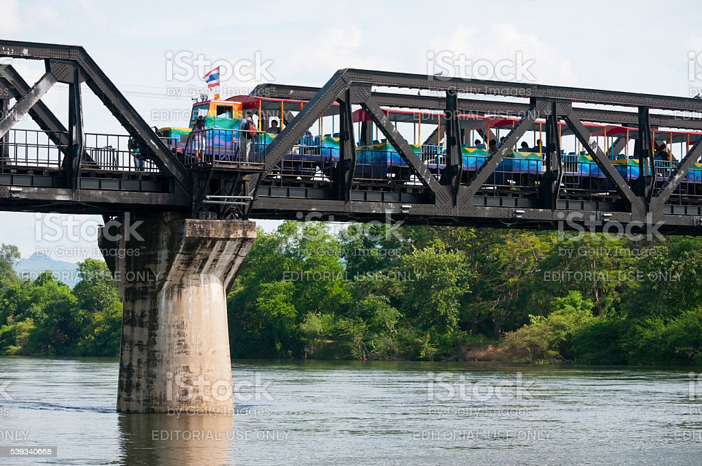 Bridge on the River Kwai in Kanchanaburi, Thailand stock photo