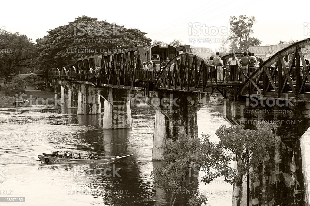 Bridge on the River Kwai in Thailand stock photo