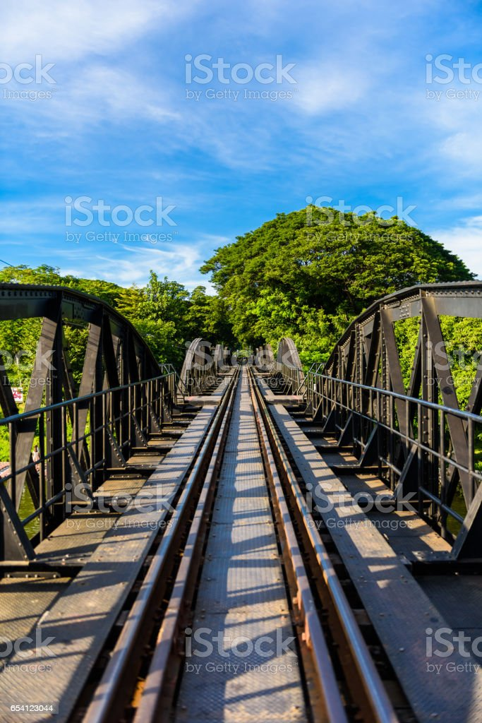 Bridge on the river kwai, Kanchanaburi province,Thailand. stock photo