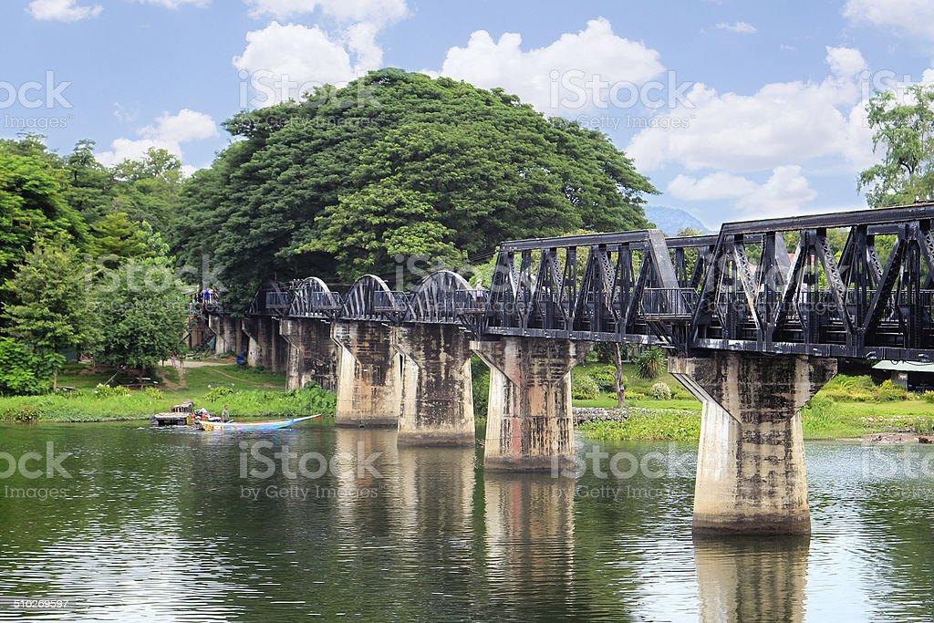 Bridge on the river Kwai, Kanchanaburi, Thailand stock photo