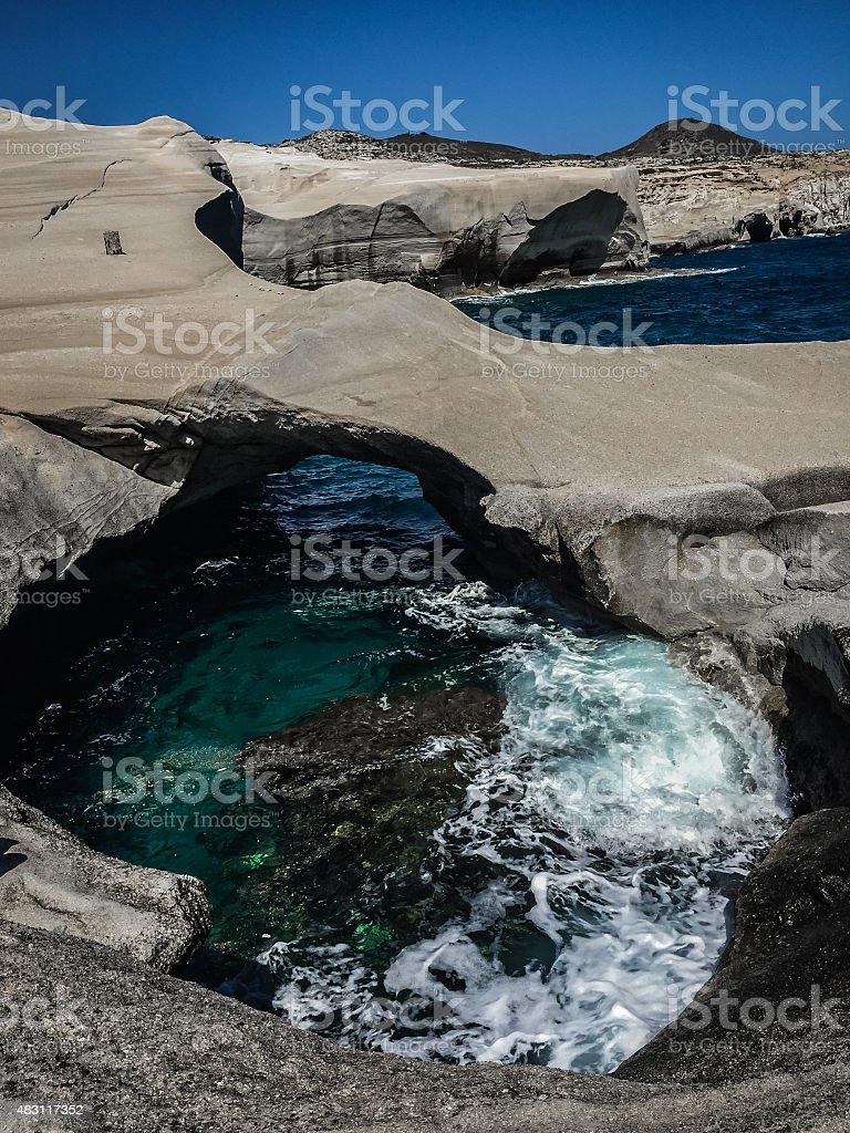 Sarakiniko pont sur la plage photo libre de droits
