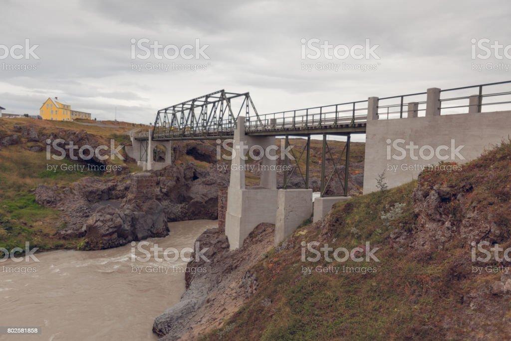 Bridge on The Skjalfandafljot river in Iceland stock photo