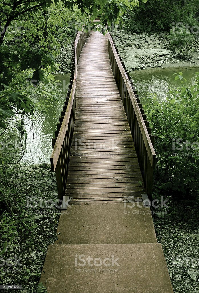 Bridge out of the woods royalty-free stock photo