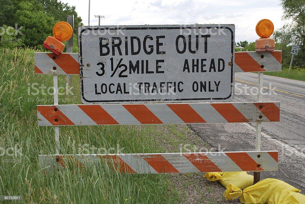 Bridge out sign stock photo