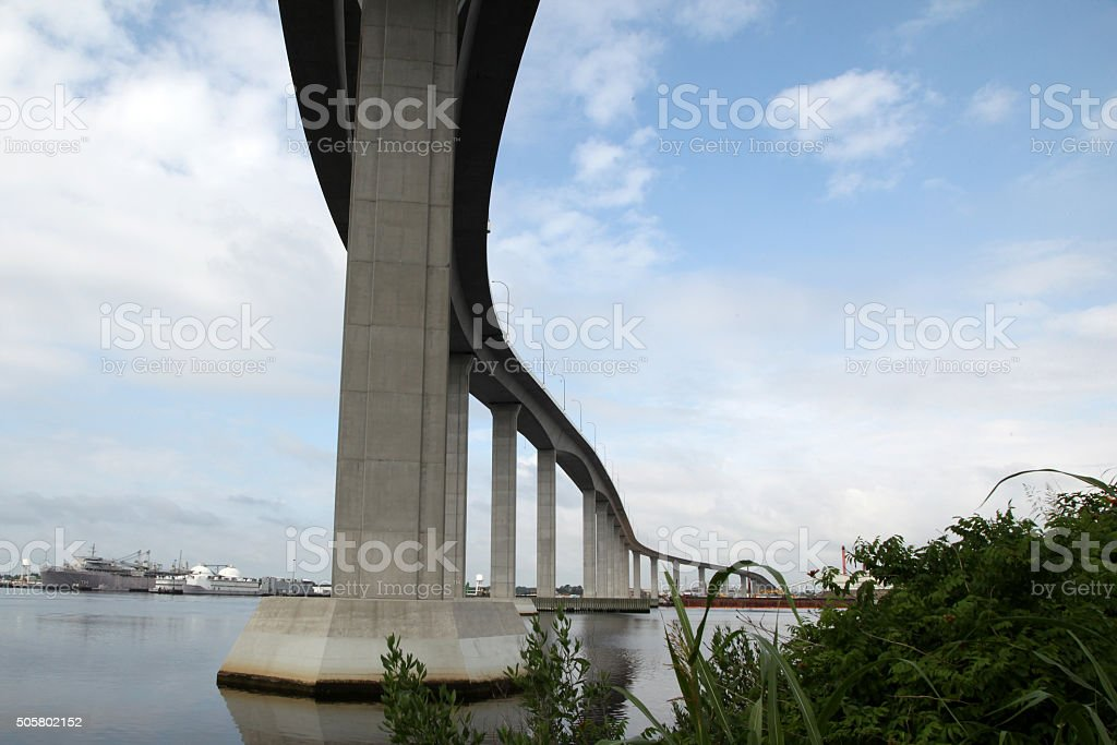 Bridge over a body of water stock photo