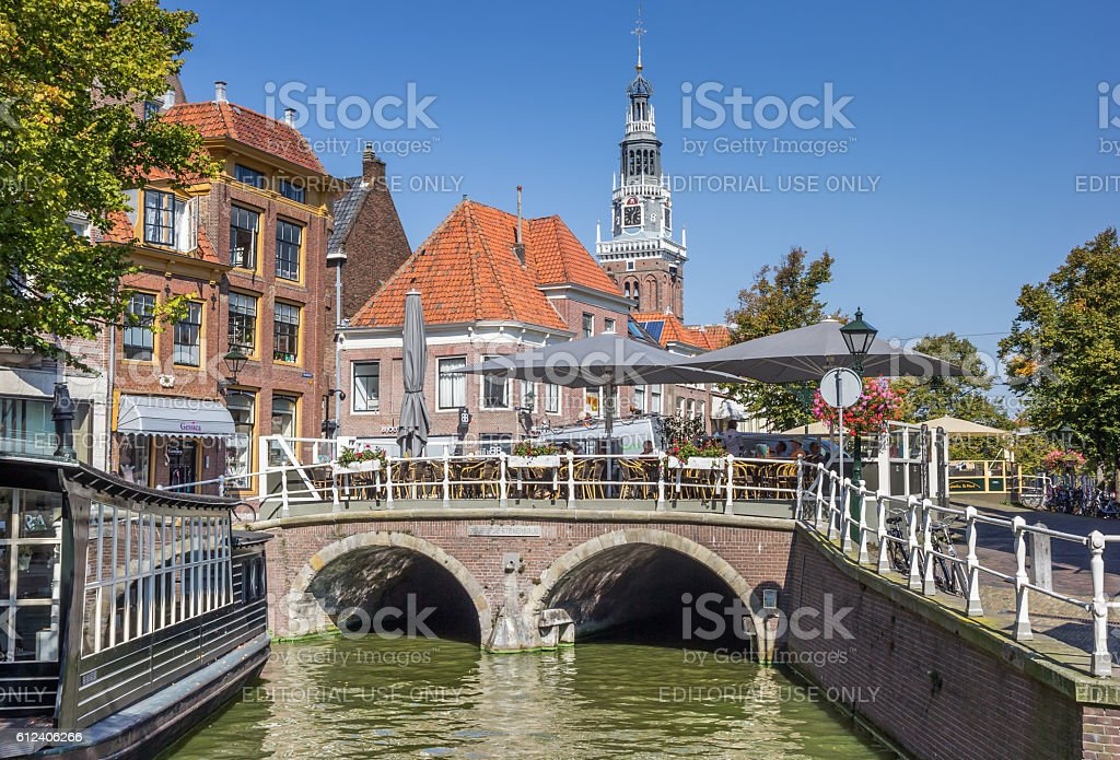 Bridge over a canal in the historical center of Alkmaar stock photo