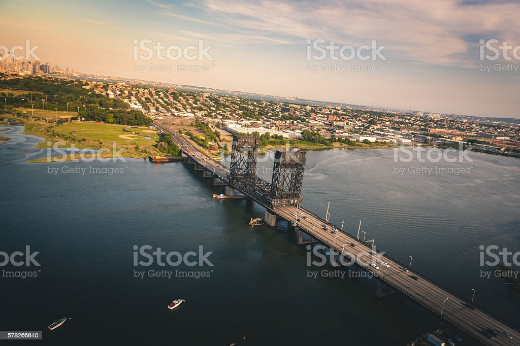 Bridge over a channel in New Jersey royalty-free stock photo