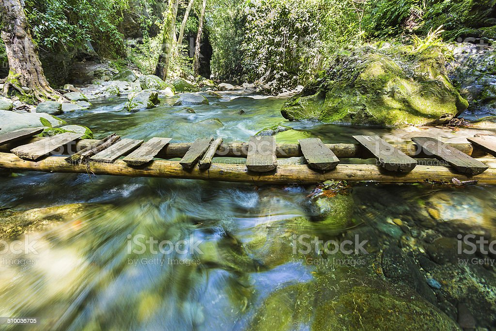 Bridge over a Crystal River stock photo