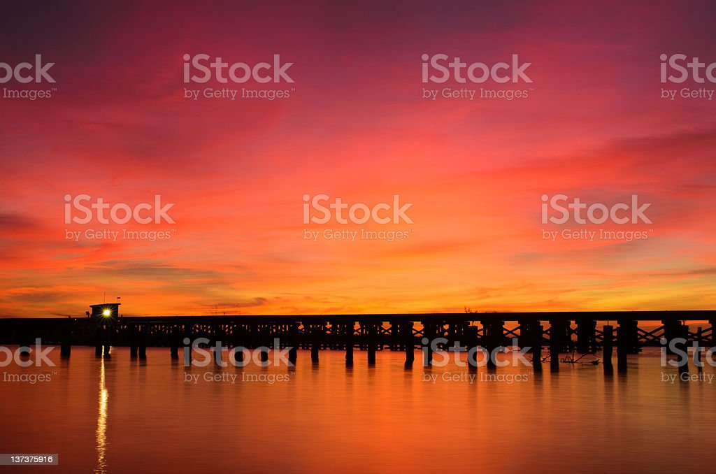 Bridge over a river stock photo