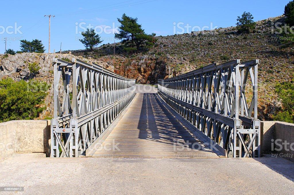 Bridge over Aradena Gorge, Crete, Greece stock photo
